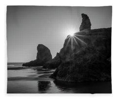 Last Light On The Coast Fleece Blanket