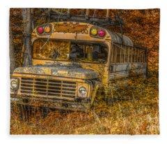 Last Stop School Bus Fleece Blanket