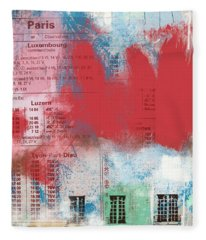 Last Train To Paris- Art By Linda Woods Fleece Blanket
