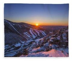 Last Winter Sunset Over Cannon Mountain Fleece Blanket