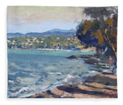 Late Afternoon At Dilesi Beach Athens Fleece Blanket