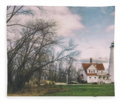 Late Afternoon At The Lighthouse Fleece Blanket