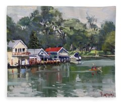 Late Afternoon By The Canal Fleece Blanket