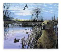 Late Season Mallards Fleece Blanket