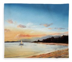 Late Sunset Along The Beach Fleece Blanket