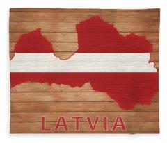 Lativa Rustic Map On Wood Fleece Blanket
