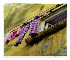 Laundry Hanging In Rovinj, Croatia Fleece Blanket