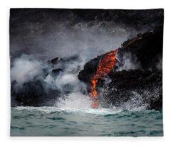 Lava Dripping Into The Ocean Fleece Blanket