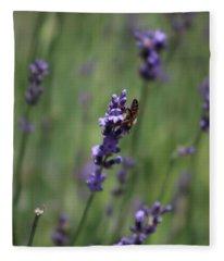Lavender And Honey Bee Fleece Blanket