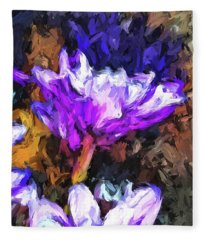 Lavender And White Flower With Reflection Fleece Blanket