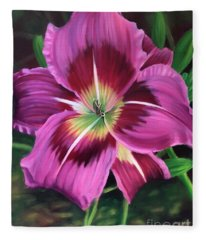 Lavender Daylily Fleece Blanket