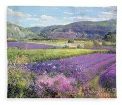 Lavender Fields In Old Provence Fleece Blanket