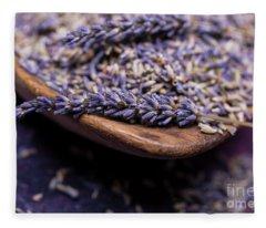 Lavender In A Wooden Scoop Fleece Blanket