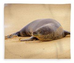 Lazy Gaze From The Shore Fleece Blanket