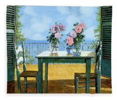 Le Rose E Il Balcone Fleece Blanket