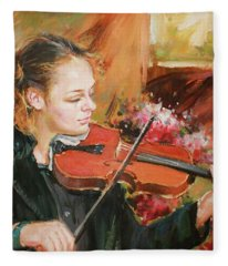 Learning The Violin Fleece Blanket