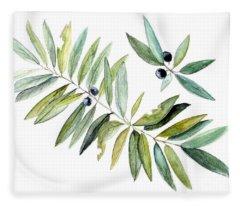 Leaves And Berries Fleece Blanket