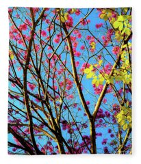 Leaves And Trees 980 Fleece Blanket