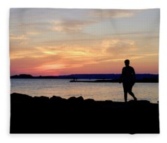 Leaving Sunset Marseille Fleece Blanket