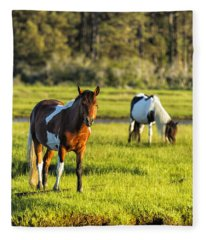 Leaving The Chincoteague Ponies Fleece Blanket
