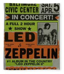 Led Zeppelin Live In Concert At The Baltimore Civic Center Poster Fleece Blanket