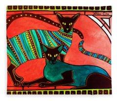 Legend Of The Siamese - Cat Art By Dora Hathazi Mendes Fleece Blanket
