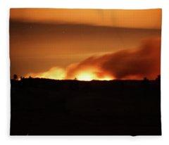 Legion Lake Fire At Night Fleece Blanket