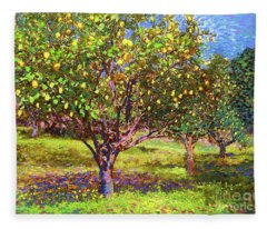 Lemon Grove Of Citrus Fruit Trees Fleece Blanket