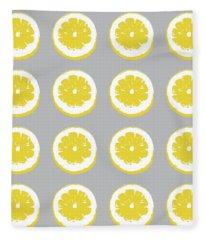 Lemon Slices On Grey- Art By Linda Woods Fleece Blanket