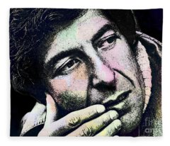 Leonard Cohen - Drawing Tribute Fleece Blanket
