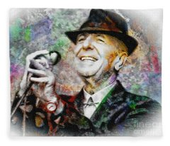 Leonard Cohen - Tribute Painting Fleece Blanket