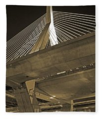 Leonard P. Zakim Bunker Hill Bridge In Sepia Fleece Blanket