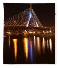 Leonard P. Zakim Bunker Hill Bridge Reflection 2 Fleece Blanket