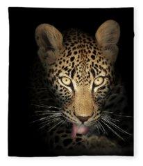 Leopard In The Dark Fleece Blanket