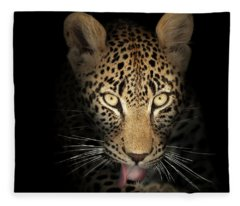Leopard In The Dark Fleece Blanket