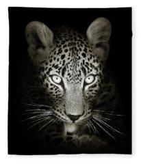 Leopard Portrait In The Dark Fleece Blanket