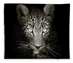 Leopard Portrait In The Dark Fleece Blanket