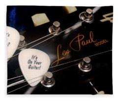 Les Paul's Guitar Pick On Gibson Headstock By Gene Martin Fleece Blanket