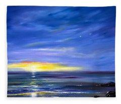 Less Drama - Blue Sunset Fleece Blanket