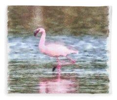 Lesser Flamingo Watercolor Fleece Blanket