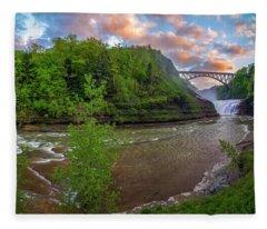 Letchworth Upper Falls Fleece Blanket