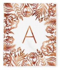 Letter A - Rose Gold Glitter Flowers Fleece Blanket