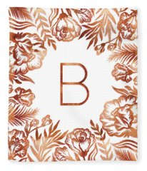Letter B - Rose Gold Glitter Flowers Fleece Blanket