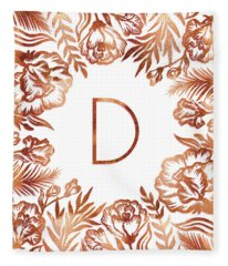 Letter D - Rose Gold Glitter Flowers Fleece Blanket