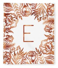 Letter E - Rose Gold Glitter Flowers Fleece Blanket