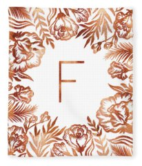 Letter F - Rose Gold Glitter Flowers Fleece Blanket