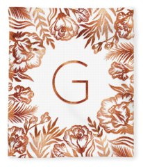 Letter G - Rose Gold Glitter Flowers Fleece Blanket