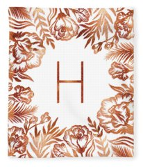 Letter H - Rose Gold Glitter Flowers Fleece Blanket