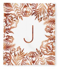 Letter J - Rose Gold Glitter Flowers Fleece Blanket