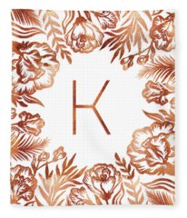 Letter K - Rose Gold Glitter Flowers Fleece Blanket